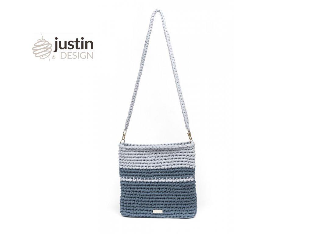 Háčkovaná crossbody kabelka Viktorie šedomodrá se světle šedou l Justin  Design bda9f16a152