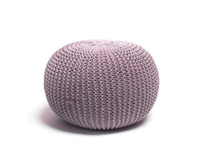 Pletený puf střední pudrový lila