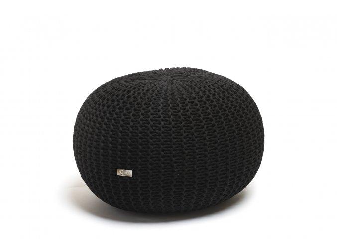 Pletený puf střední černý
