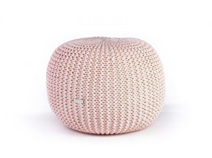 Pletený puf střední světle růžový