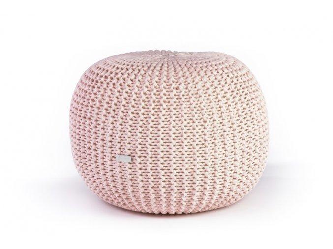 Pletený puf velký světle růžový