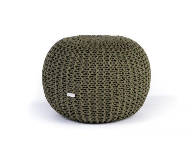Pletený puf střední zelený khaki