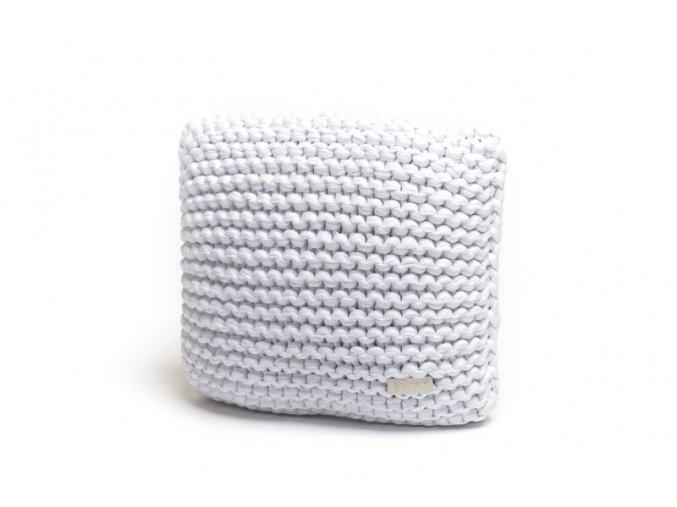 Pletený polštář 30x30 cm bílý