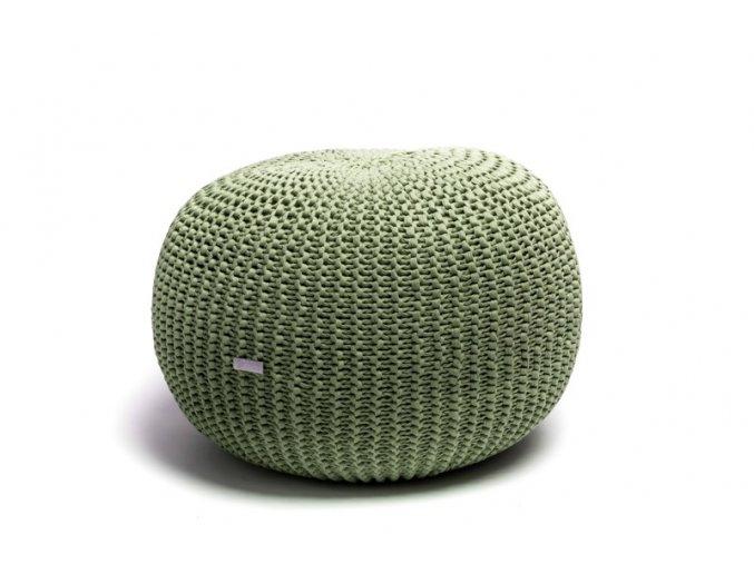 Pletený puf střední zelený brčál