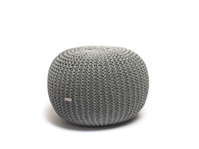 Pletený puf malý středně šedé melé žebrované