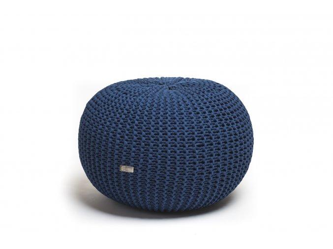 Pletený puf malý tmavě modrý