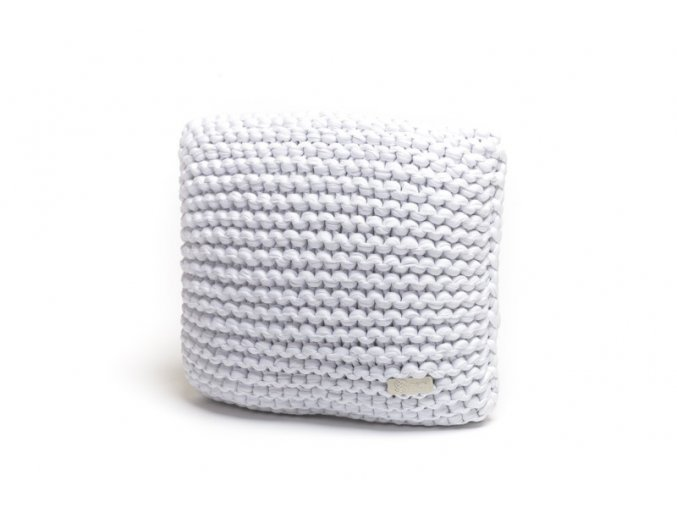 Pletený polštář 40x40 cm bílý