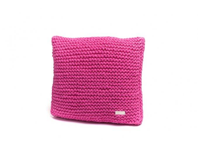 Pletený polštář 40x40 cm malinový