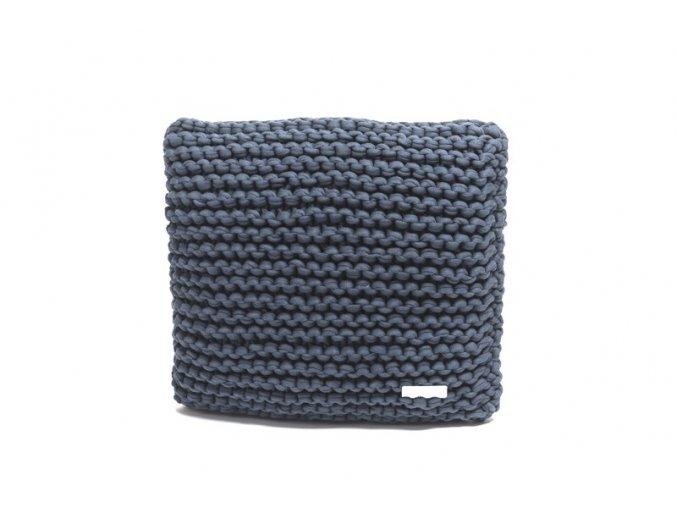 Pletený polštář 40x40 cm šedomodrý