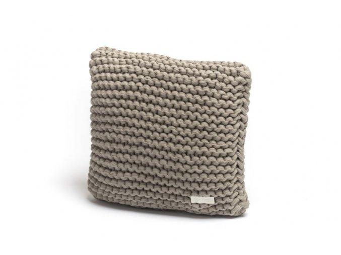 Pletený polštář 30x30 cm bílá káva