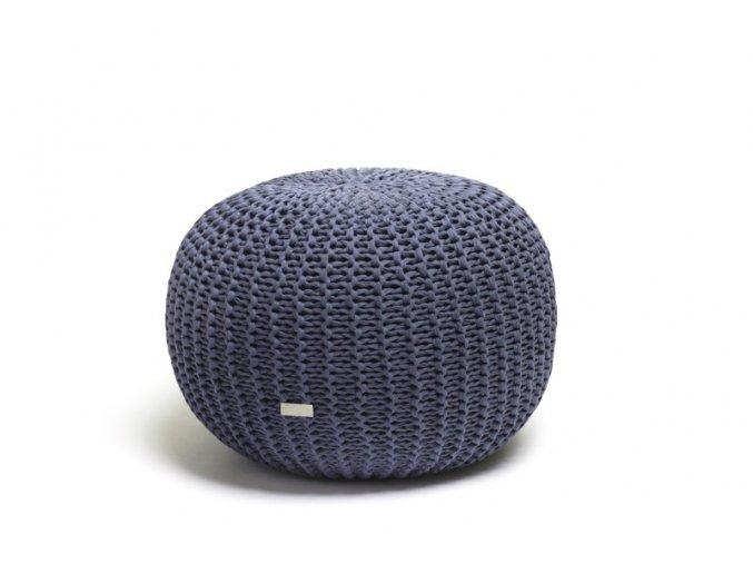Pletený puf malý modrý džínovofialový