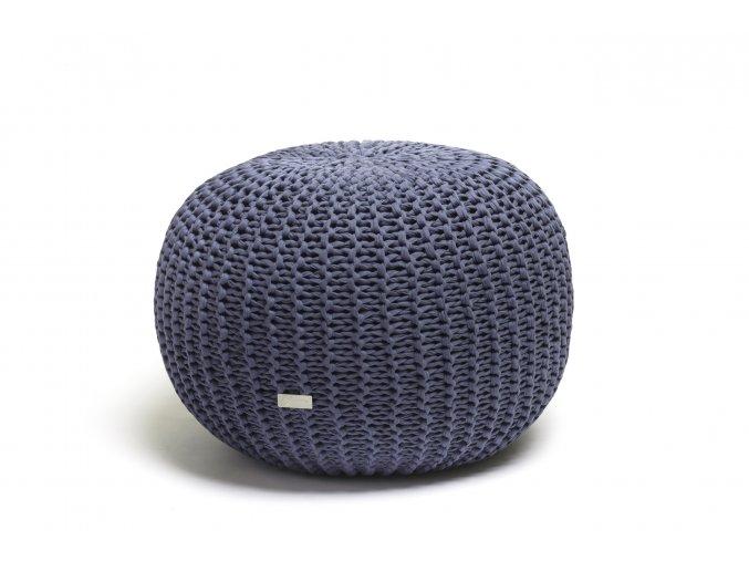 Pletený puf střední modrý džínovofialový