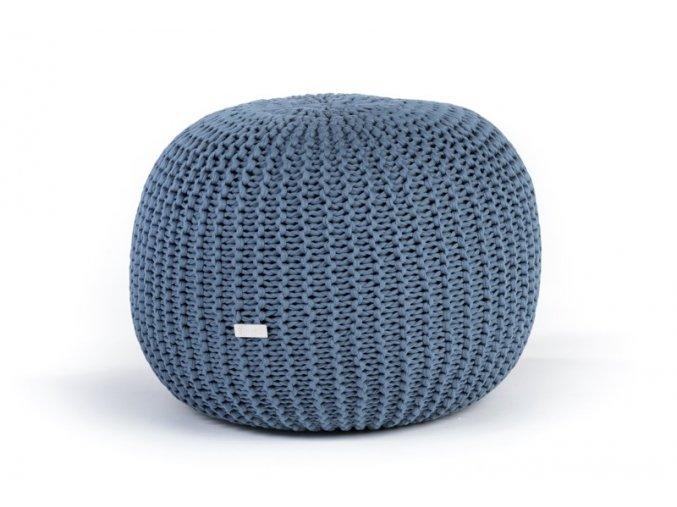 Pletený puf velký modrý džínový světlý