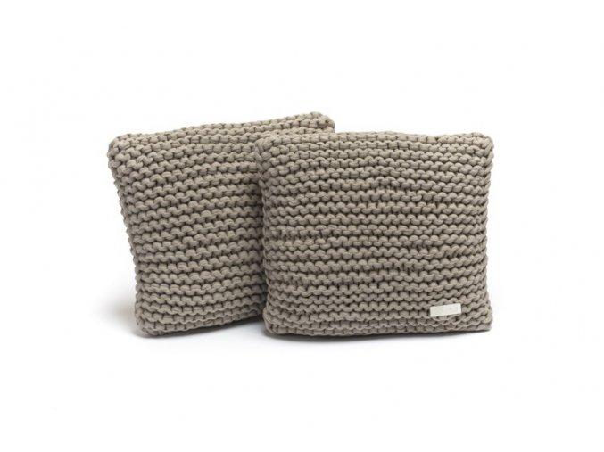 Pletený polštář 40x40 cm bílá káva