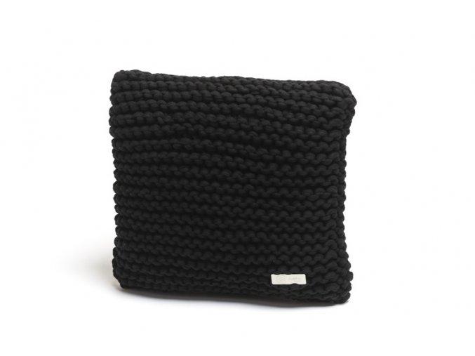 Pletený polštář 40x40 cm černý