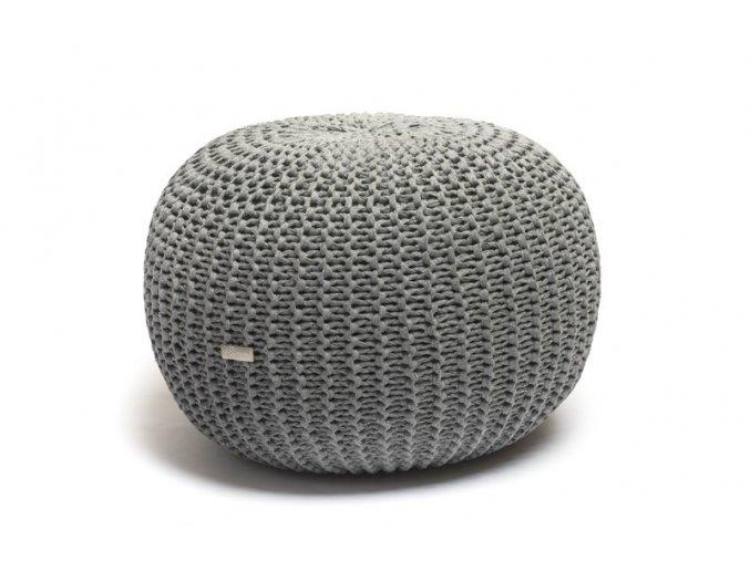 Pletený puf velký středně šedé melé