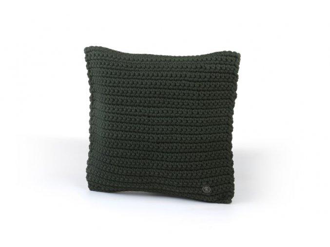 Háčkovaný polštář 40x40 cm tmavě zelený