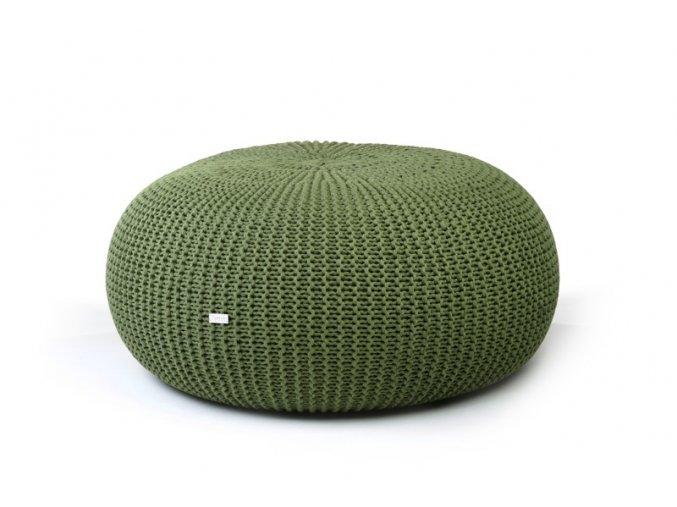 Pletený puf extra velký zelený mechový