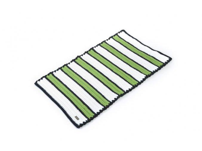 Háčkovaný koberec bílo-limetkový 60x100