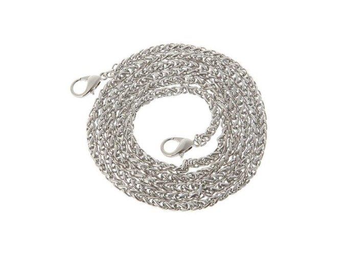Splétaný řetízkový popruh na kabelku stříbrný