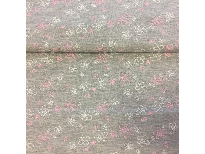 Teplákovina se vzorem květy na šedém melé počesaná
