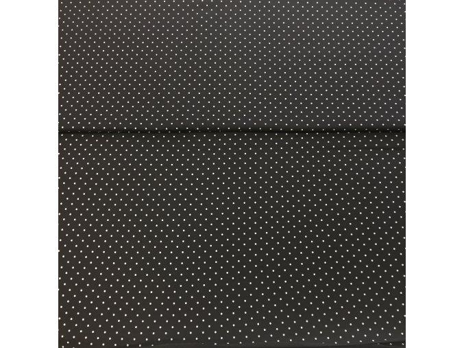 Teplákovina se vzorem bílé tečky na oceli nepočesaná