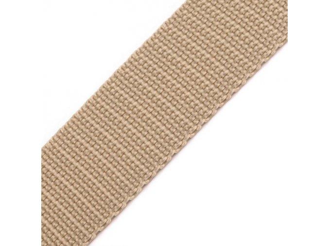 Popruh polypropylénový bílá káva 3 cm
