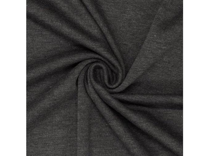 8007 Bavlněný úplet tmavě šedý melír
