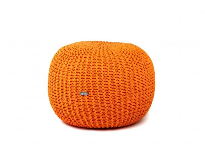 Pletený puf malý oranžový pomerančový