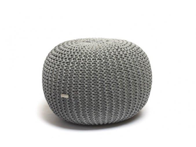 Pletený puf střední středně šedé melé