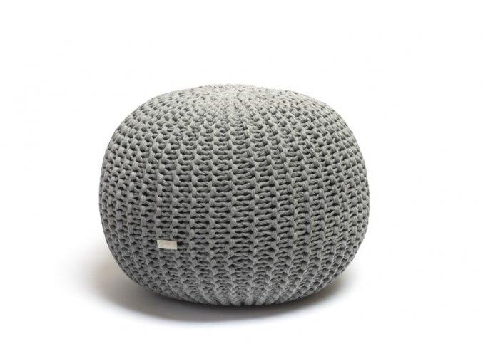 Pletený puf střední šedý melír
