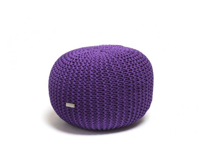 Pletený puf malý světle fialová