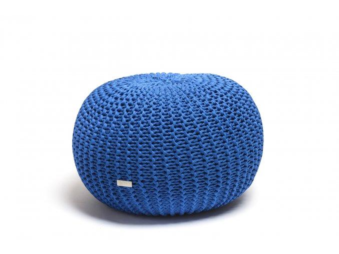 Pletený puf střední modrý královský