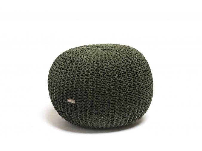 Pletený puf malý tmavě zelený s černým puntíkem