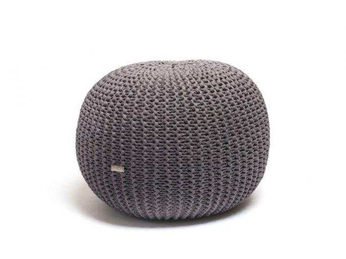 Pletený puf střední šedohnědý žebrovaný
