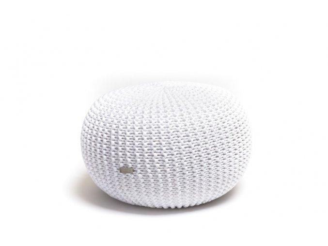 Pletený puf malý bílý