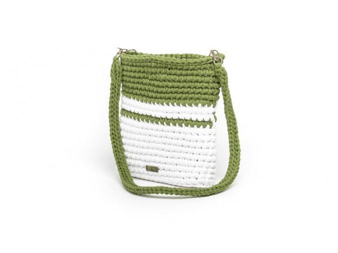 Háčkovaná crossbody kabelka Viktorie bílá se zelenou