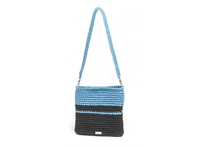 Háčkovaná crossbody kabelka Viktorie modrá se šedou