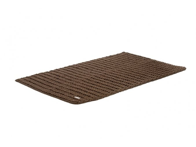 Háčkovaný koberec hnědý kávový 60x100 cm