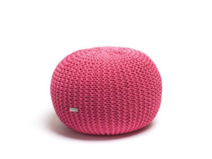 Pletený puf malý růžový