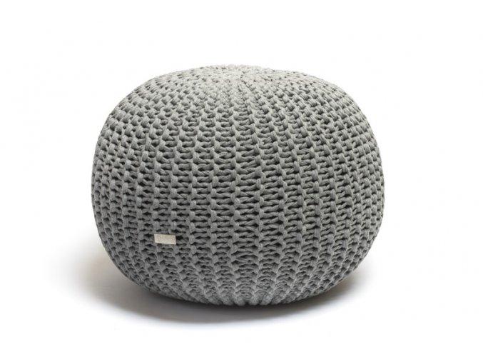 Pletený puf velký šedý melír