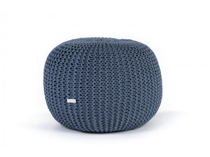 Pletený puf střední modrý džínový