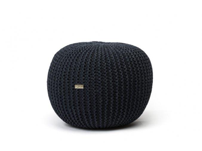 Pletený puf malý černý antracit