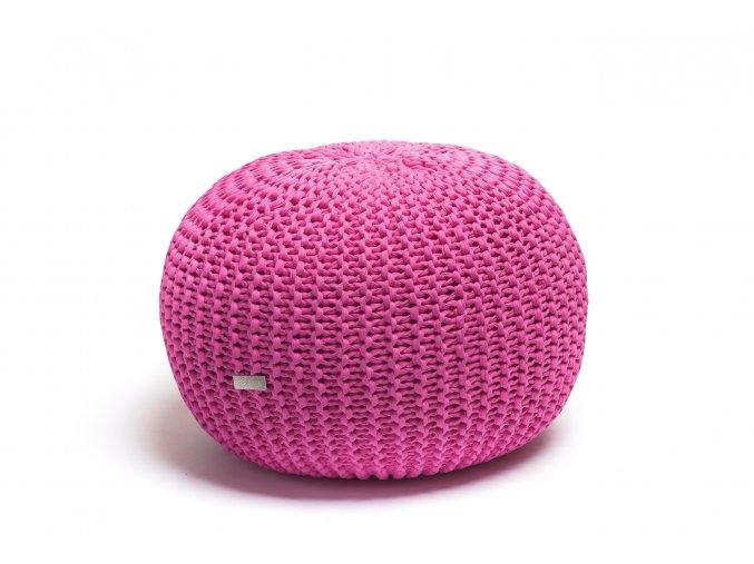 Pletený puf střední růžovofialový