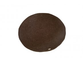 Háčkovaný koberec kulatý hnědý kávový 100 cm