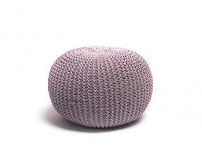 Pletený puf malý pudrový lila
