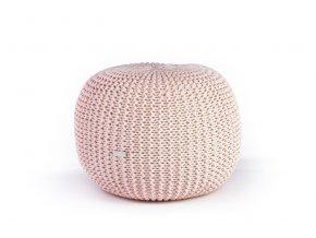 Pletený puf malý světle růžový