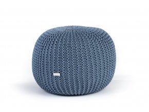 Pletený puf střední modrý džínový světlý
