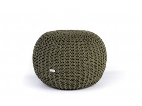 Pletený puf malý zelený khaki