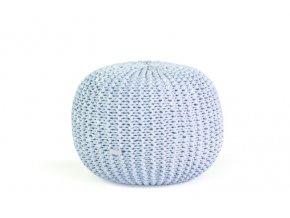 Pletený puf malý světle modrá batika